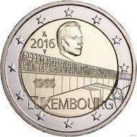 2 евро 2016 Люксембург 50 лет мосту герцогини Шарлотты UNC из ролла