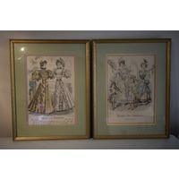 2 Гравюры Мода Франции 19 век