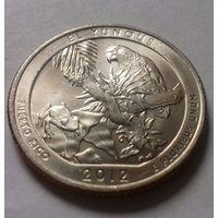 "25 центов, квотер США, нац. парк ""Лес Эль-Юнке"" (Пуэрто-Рико), P  D"