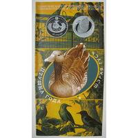 Буклет к монете Птица года: Жаворонок, Пустельга, Цапля, Гусь. Цена за 1 шт.