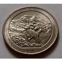 25 центов, квотер США, нац. парк Денали, штат Аляска, P