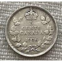 Канада 5 центов 1906, серебро