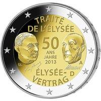 2 евро 2013 Германия D 50 лет подписания Елисейского договора UNC из ролла