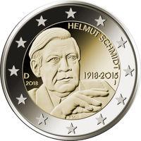 2 евро 2018 Германия G Гельмут Шмидт UNC из ролла