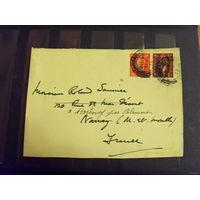 1938 Великобритания вырезка из письма 2 марки хорошая сохранность король
