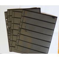 """Листы для марок на чёрной основе двусторонние 25x20 см на 7 ячеек 30х180мм. Формат """"OPTIMA"""" (4 шт.)"""