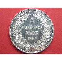 5 марок 1894 года колония Германии Новая Гвинея (копия 2001 года)