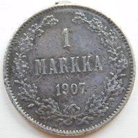15. Финляндия под Россией 1 марка 1907 год, серебро. Николай-2.