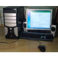Монитор + системный блок (2х ядерный) + калонки +  клавиатура + мыш