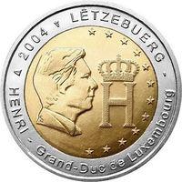 2 евро Люксембург 2004 Монограмма герцога Анри ( из ролла)