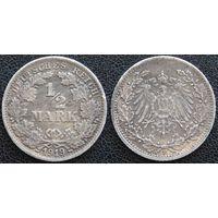 YS: Германия, Рейх, 1/2 марки 1919F, КМ# 17  - редкие год и буква