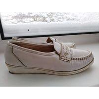 Кожаные мягкие туфли макасины р.38