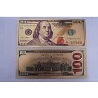 Красивая золотая банкнота 100 долларов США
