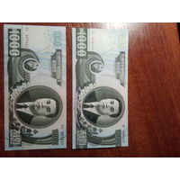 КНДР 1000 вон 2002 и 2006 года . Комплект