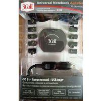 Универсальное автомобильное зарядное устройство для ноутбука 3Cott 90W + USB порт