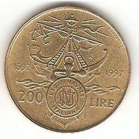 200 лир 1997. Италия. юбилейка. корабль