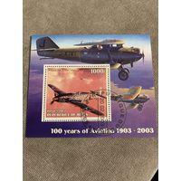 Бенин 2003. 100 летие авиации. Блок