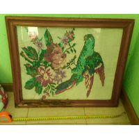 Вышивка картина старинная с рамкой попугай