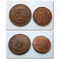 ДЖЕРСИ - 2 пенса 1998 года и 1/12 шиллинга 1964 года - из коллекции (цена за две монеты)