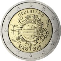 2 евро 2012 Нидерланды 10 лет наличному обращению евро UNC  из ролла
