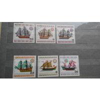 Корабли, парусники, морской флот, транспорт, техника, марки, Болгария, 1980