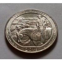 25 центов, квотер США, мемориал Теодора Рузвельта, штат Северная Дакота, P
