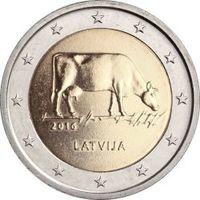 2 евро Латвия 2016 Сельское хозяйства Латвия. Из ролла