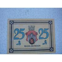 Германия 25 пфенингов  1922 Нотгельд Ганноверш-Мюнден