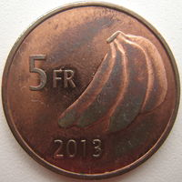 Катанга 5 франков 2013 г.