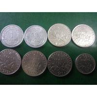 Сборный лот Франции 1 франк+1\2 франка погодовка без повторов