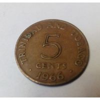 Тринидад и Тобаго 5  центов 1966 старый тип