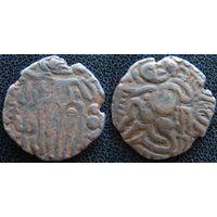 YS: Индия, династия Чола, медная монета, X век, Кришна, играющий на флейте (3)