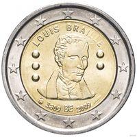 2 евро 2009 Бельгия Луи Брайль UNC из ролла