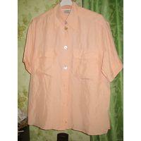 Блузка-рубашка шёлковая персиковая р.48-50