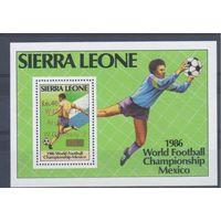 [1096] Сьерра-Леоне 1986. Спорт.Футбол.Чемпионат мира. БЛОК С НАДПЕЧАТКОЙ.
