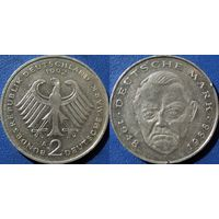 ФРГ, 2 марки 1992 А, Людвиг Эрхард, монетный двор Берлин