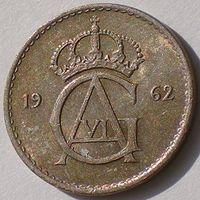 Швеция, 10 эре 1962 года (U), KM# 835, Gustaf VI, РАСПРОДАЖА