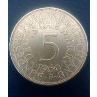 5 марок ФРГ 1960г. Серебро.