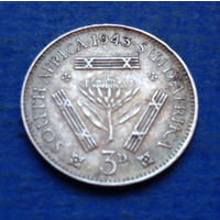Южная Африка Британский доминион 3 пенса 1943 Георг VI Серебро