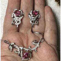 Комплект Новогодний Колье и Серьги Розовый топаз Серебро