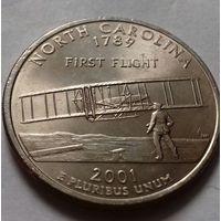 25 центов, квотер США, штат Северная Каролина, P D