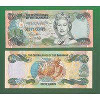 Банкнота Багамские о-ва 50 центов (1/2 доллара) 2001 UNC ПРЕСС Елизавета II