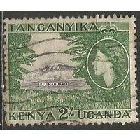Кения Уганда и Танганьика. Королева Елизавета II. Гора Килиманджаро. 1954г. Mi#102