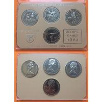 МЭН набор 4 монеты 1984г 1 крона (Сараево) и 1 крона * 3 шт. (Лос-Анджелес) ОЛИМПИАДА