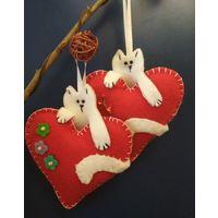 Изделия из фетра. Ручная работа. Валентинки. Котики. Коты. Сердца. Сердце. Ко Дню святого Валентина.Подарок