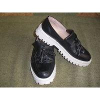 Классные туфли-лоферы из мягкой нат.кожи. 38 р-р