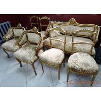 """Комплект старинной мебели """"Диванчик, 2 кресла и 4 стула"""". До 1917г. Нужна реставрация."""