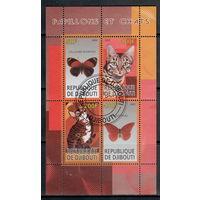 Джибути /2009/ Фауна / Кошки и Бабочки / Лист сцепка #4 Марки