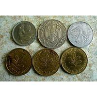 Германия. 6 монет 1952-1990 г.