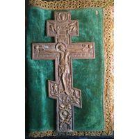 Крест, напрестольный, старый, бронза, православный, латунь 37 на 19 см.